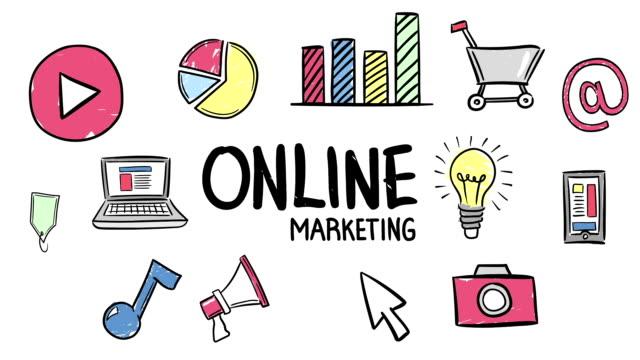 Illustration of online marketing icon set video