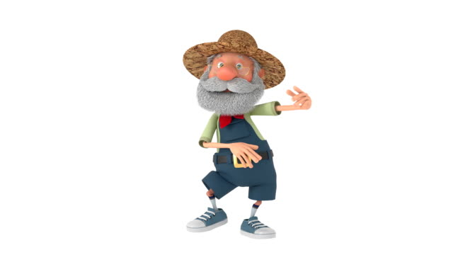 3d illustration the elderly farmer moves outdoors with a smile - personaggio video stock e b–roll