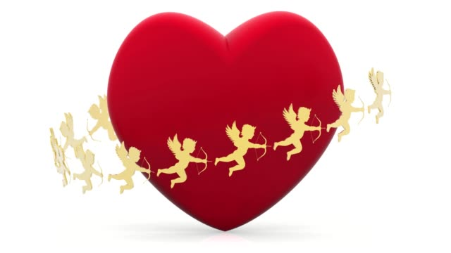 Illustrazione Video Cuore Cupido Amore San Valentino Stock Video