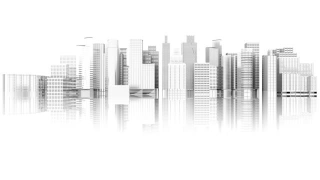 3D illustration - Videos. White city skyline expansion