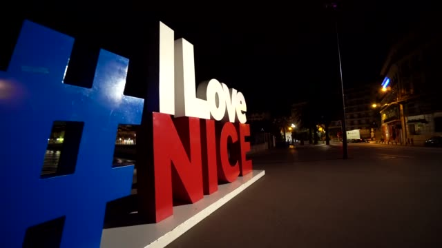 Ilovenice sign in the French national colours in Nice, Cote d'Azur, France. video