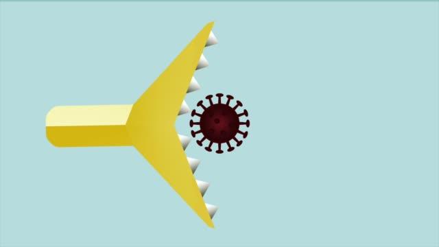 antikorsaldırı virüs durdurmak hareketi görüntü, virüs tedavisi ve önlenmesi, coronavirus tedavisi - covid vaccine stok videoları ve detay görüntü çekimi