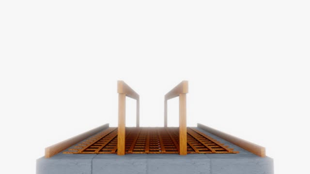 3D image of the frame roof of the house
