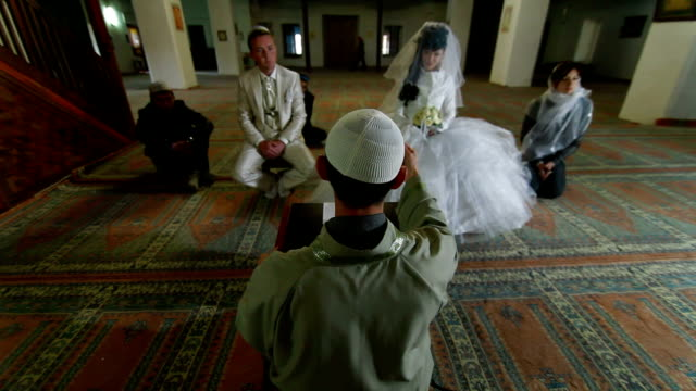 Imam  preaching at Wedding Ceremony Nikah in Mosque video