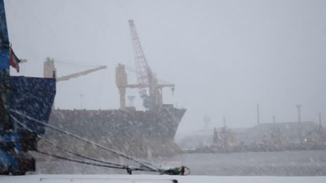 immingham dock snow storm - donmuş su stok videoları ve detay görüntü çekimi