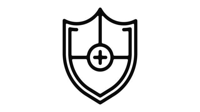 vídeos y material grabado en eventos de stock de inmunidad línea motion graphic - shield