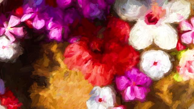 vidéos et rushes de impressioniste fleurs - couleur saturée