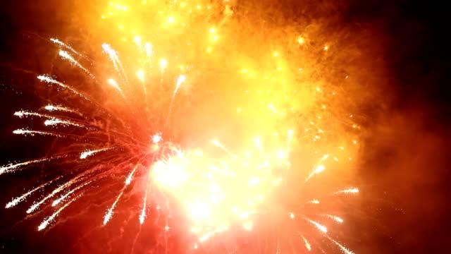 HD impressive fireworks on sea Camogli Italy video