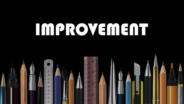 Improvement, Stop Motion Animation of Wooden Pencils, Pens, Measure, Pair of Compasses, Brush, Fountain-Pen,  Abstract Conceptual Image, Contemporary Art, Bright Idea, Opinion, Solution, Philosophy, Back to School