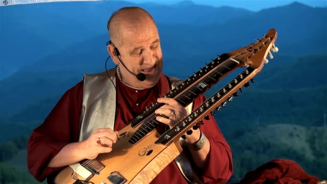 improvisation of paolo tofani with his trikanta veena - eksantrik stok videoları ve detay görüntü çekimi