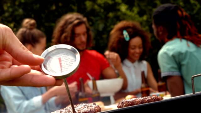 in high quality format man using meat thermometer - et stok videoları ve detay görüntü çekimi