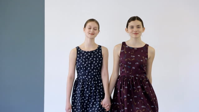 In model school young females is walking on runway video