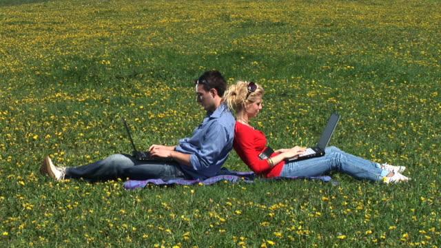 hd: in der natur am laptop arbeiten - rücken an rücken stock-videos und b-roll-filmmaterial