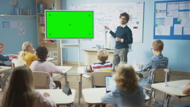In the Elementary School Classroom: Teacher Uses Horizontal Green Mock-up Screen Interactive Digital Whiteboard to Explain Lesson to Diverse Group of Schoolchildren. Multi Ethnic Kids Learning Science In the Elementary School Classroom: Teacher Uses Horizontal Green Mock-up Screen Interactive Digital Whiteboard to Explain Lesson to Diverse Group of Schoolchildren. Multi Ethnic Kids Learning Science middle school teacher stock videos & royalty-free footage