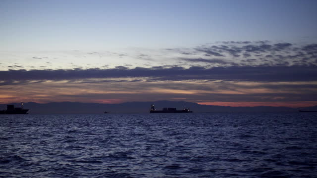 In the evening sea ships in the roadstead video