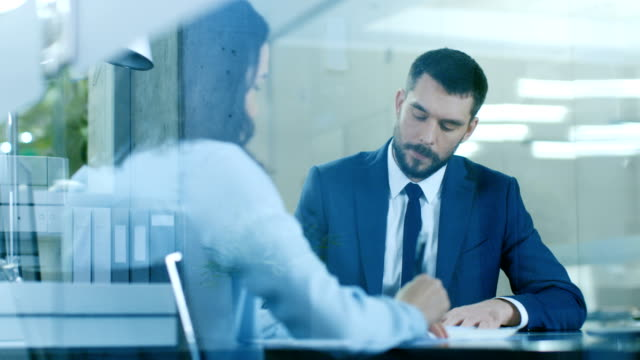 In the Office Businesswoman and Businessman Have Conversation, Negotianing, Draw up a Contract, Sign Documents, Finish Transaction, Shake Hands. Stylish People in Modern Conference Room.