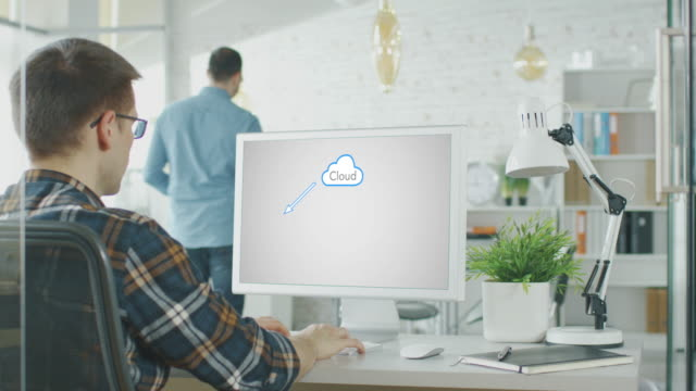 In the Office Software Engineer Working on Cloud Solutions. video