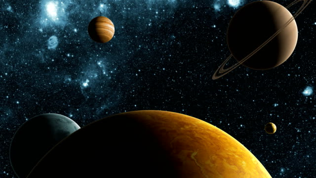 In The Search For The Exoplanet. Flight In Outer Space Between Different Planets. 4K. 3840x2160. video