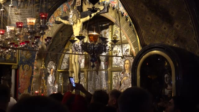 In the temple of the Holy Sepulcher in Jerusalem. Calvary video