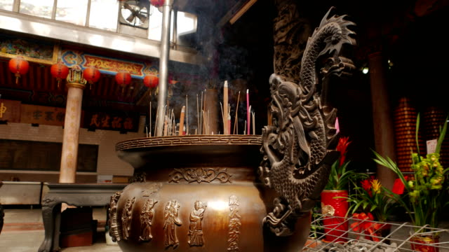 Incense burning in Taiwanese temple video