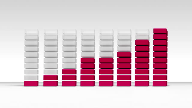 vídeos de stock e filmes b-roll de aumentar económica gráfico. 3 d gráfico de barras 1. (incluído alfa - continuidade