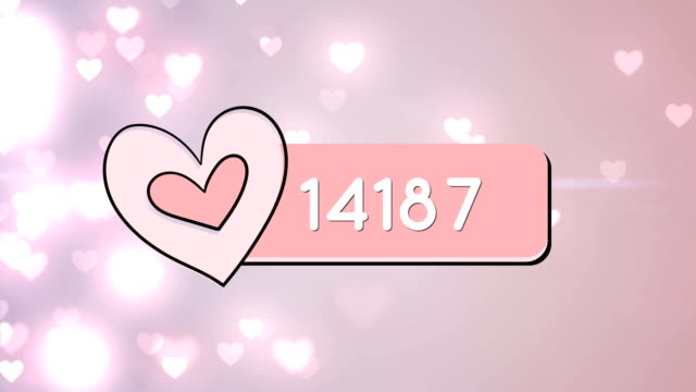 Increasing number of hearts on social media