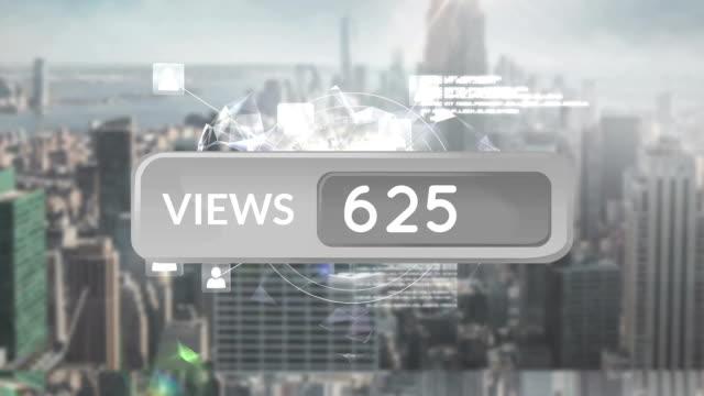 increasing number of views on social media - rappresentazione umana video stock e b–roll