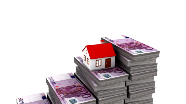 Increasing Property Price (Loop,Alpha) 3D animation of home miniature jumping over 500 euros currency stacks. mortgages and loans stock videos & royalty-free footage
