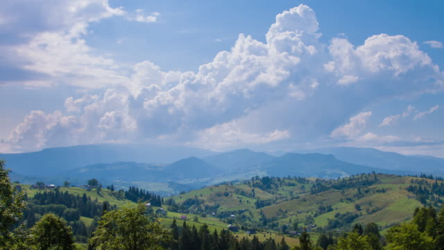 Incredible landscape of green mountains in late summer. Village in the Carpathian mountains, Ukraine. Landscape video. video