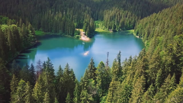 Incredibly beautiful blue lake surrounded by green pines and firs in the mountains Side view video