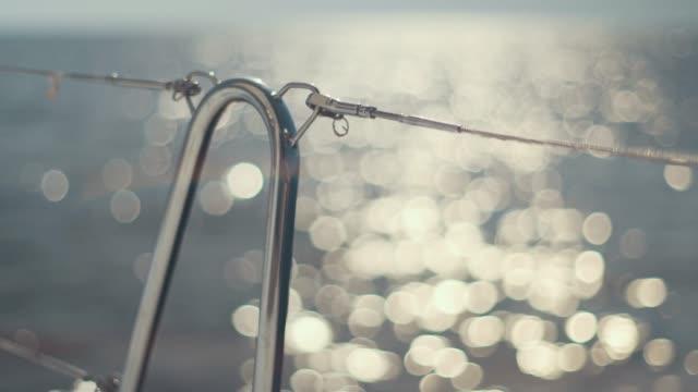 vídeos de stock e filmes b-roll de incredibly beautiful view from luxury sail yacht. yacht in mediterranean sea - ibiza