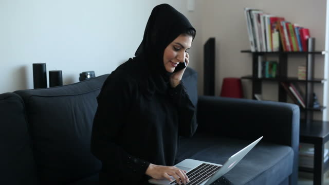 Independent Arab Woman Working at Home Office video