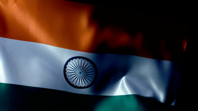 india flag flapping - bandiera nazionale video stock e b–roll