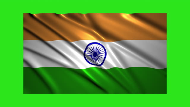 India flag waving,loopable on green screen video