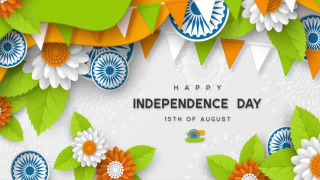 indien självständighetsdagen 4k video animation. - saffron on white bildbanksvideor och videomaterial från bakom kulisserna