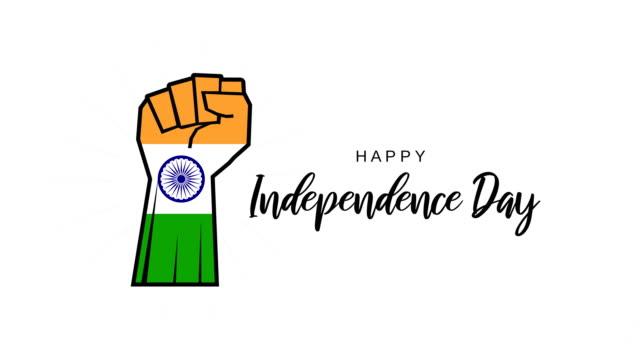 インドの旗として拳を持つ白い背景にインド独立記念日。4kアニメーション - 拳 イラスト点の映像素材/bロール