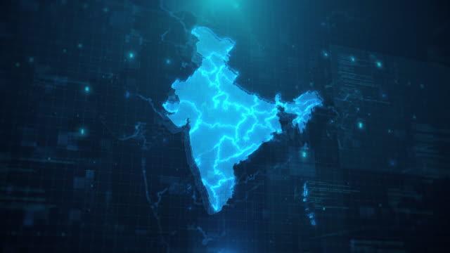 stockvideo's en b-roll-footage met india map tegen blauwe geanimeerde achtergrond 4k uhd - india