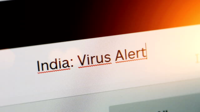 India: Virus Alert Typing on adress or search bar of a web browser: India: Virus Alert covid icon stock videos & royalty-free footage