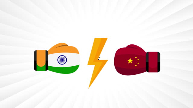 vídeos y material grabado en eventos de stock de india vs china. concepto de guerra comercial, lucha, partido deportivo o guerra entre india y china. - porcelana china