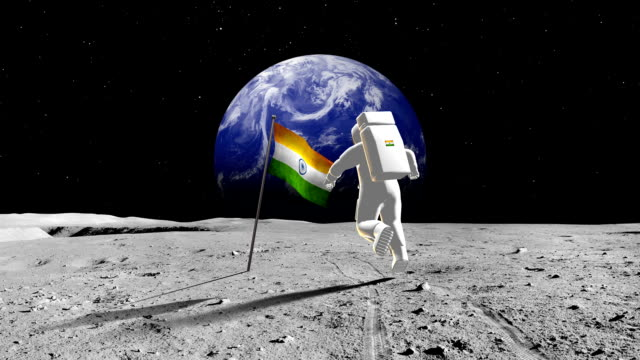 Indian Astronaut Walking On A Planet video