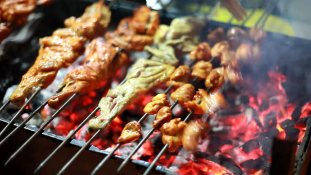 Indian chef preparar variados Barbequed pollo Tandoori malayo en tienda de carretera - vídeo
