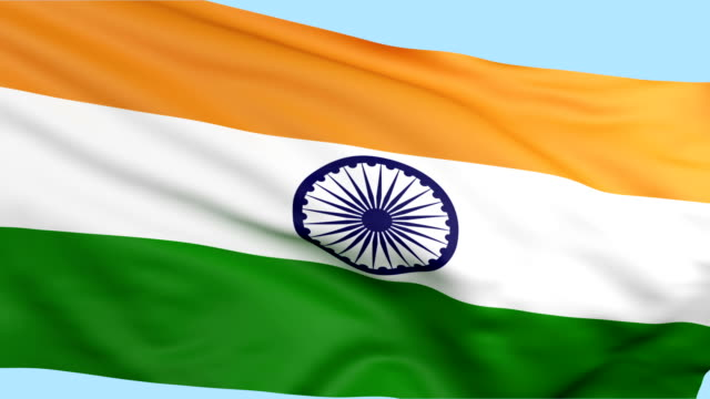 Indian flag waving loopable video