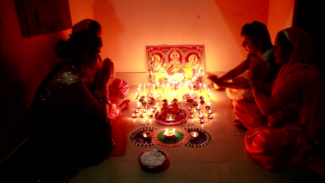 Indian goddess Lakshmi worshipping on Diwali festival video