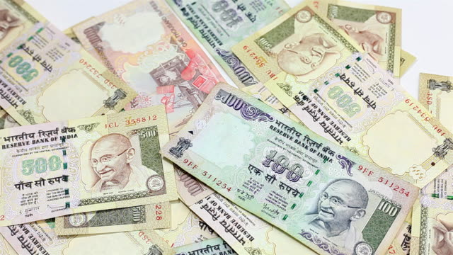 Indian Rupee currency bills banknote falling video