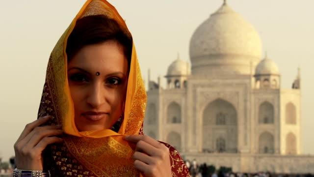 Indian woman at Taj Mahal video
