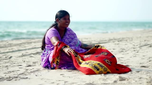 Indian woman wearing colorful sari, Goa, India video