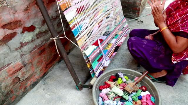 Indian Women Weaving Textile (durry) . video