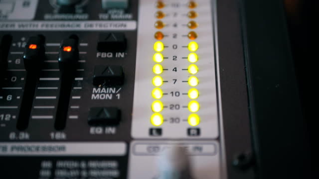 LED Indicator Level Signal on the Sound Mixing Console LED Indicator Level Signal on the Sound Mixing Console. Led light output level indicator. The volume level changes with green, yellow and red indicator lights. Peak level, volume meters of an analog mixer console. Working with Sound Mixing Console dress shoe stock videos & royalty-free footage