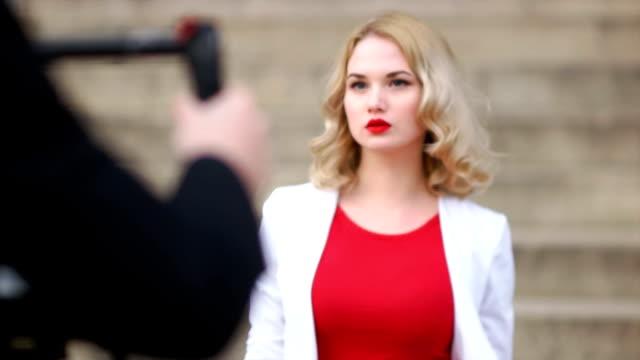 Indie Filmmaker Walking towards the Model video