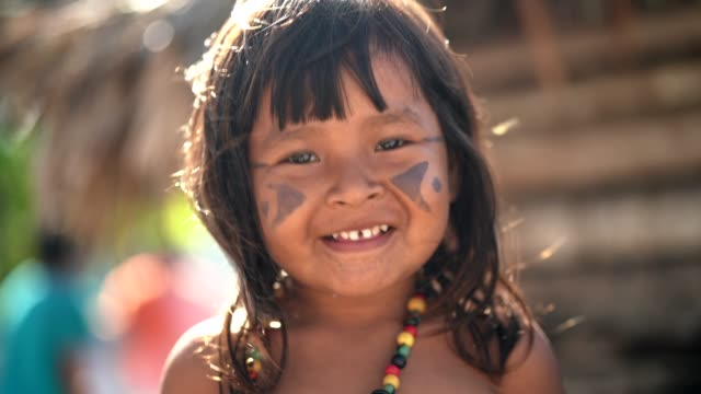 Indigenous Brazilian Child, Portrait from Tupi Guarani Ethnicity Beautiful shooting of how Brazilian Natives lives in Brazil minority groups stock videos & royalty-free footage
